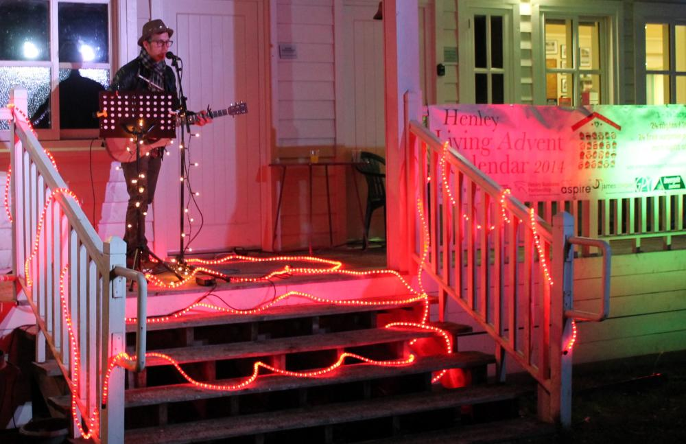 Nick Breakspear playeds amidst some Christmas lighting on Henley Cricket Club